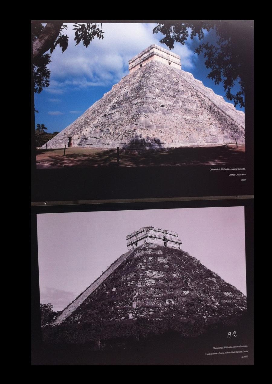 El castillo de Chichén-Itzá en 1930 y 2012