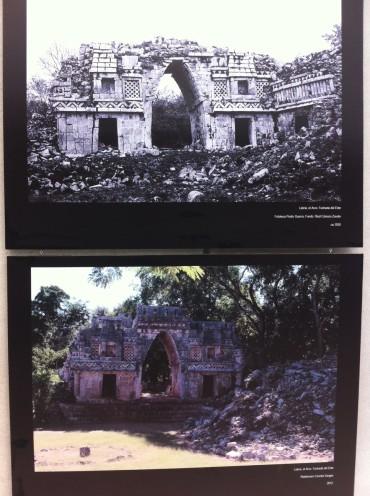 Fachada este del arco de Labná, la primer foto de 1930 y la segunda de 2012