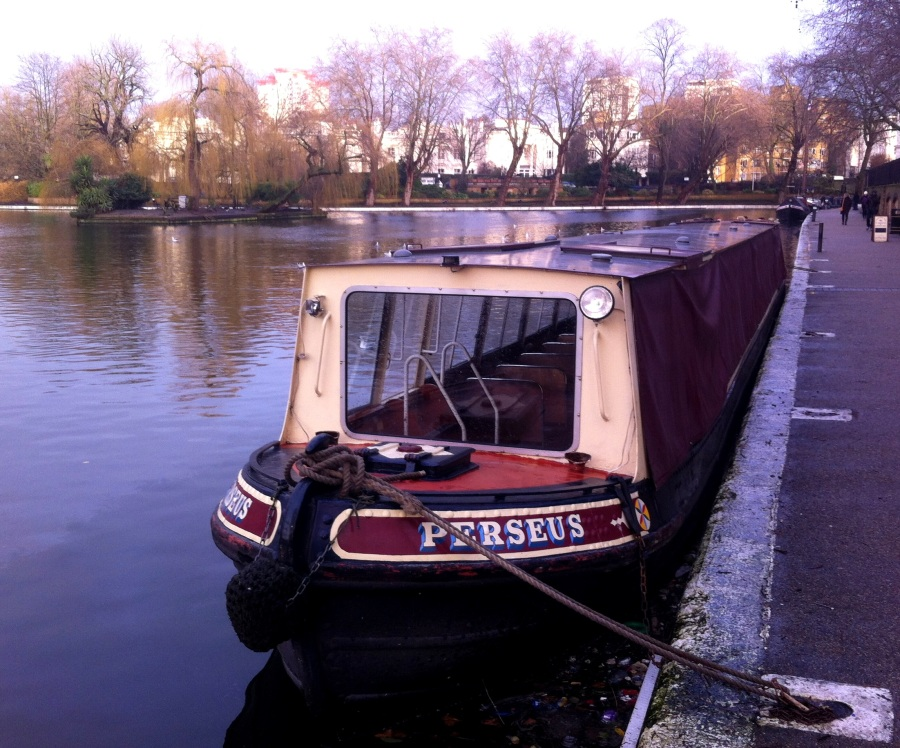 Perseus, a motorized gondola in Little Venice canal.