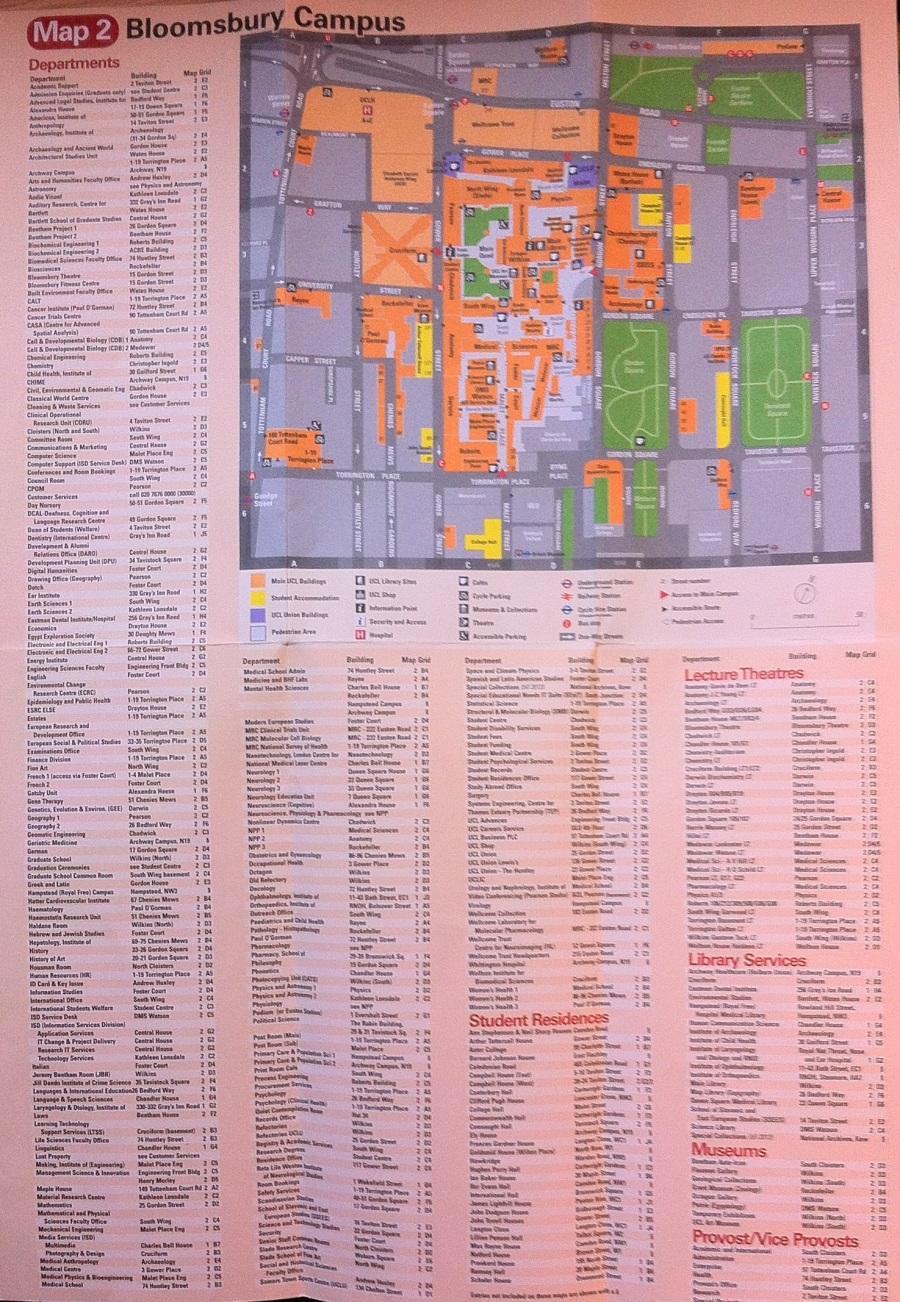 Mapa de UCL con departamentos, edificios, aulas, bibliotecas y museos.