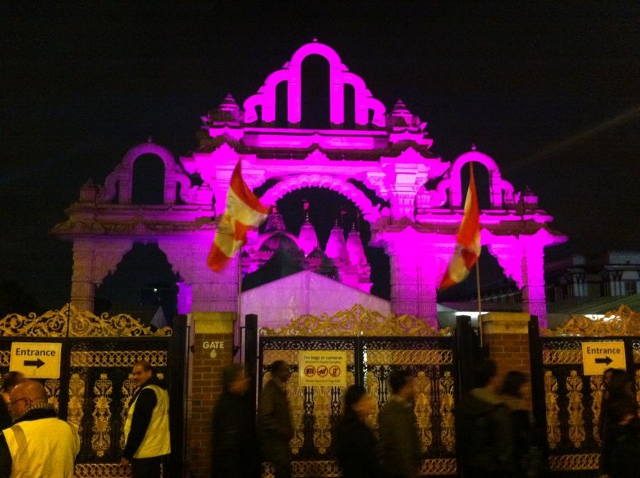 BAPS Shri Swaminarayan Mandir Temple in London during Diwali