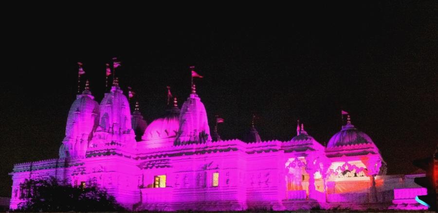 BAPS Shri Swaminarayan Mandir in London during Diwali