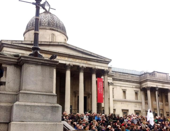 Resurrección en la representación de la Pasión de Cristo en Trafalgar Square, 2015